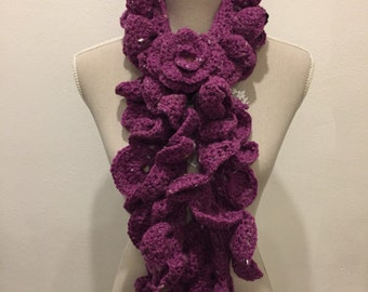 Flower wool scarf