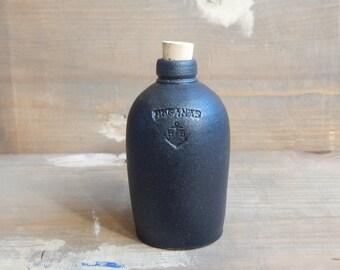 Hoganas Keramik Scandinavian Vintage Stoneware Bottle/ Vase Black Matte Glaze Cork lid