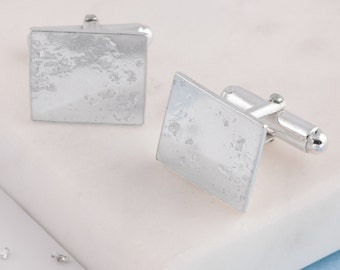 Sterling Silver Square Memorial ashes or hair Cufflinks