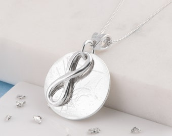 Sterling silver infinity ashes/hair necklace