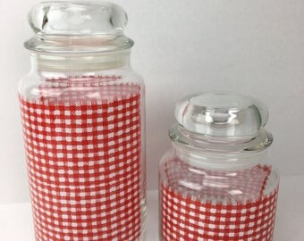 2 Vintage 60's Red Gingham Glass Canisters, retro red kitchen storage, retro decor, vintage red kitchen