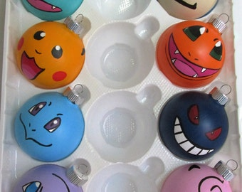 """Hand-Painted Character themed 3"""" Glass Ornaments featuring Pokemon Characters, theme customizable, set of 8"""