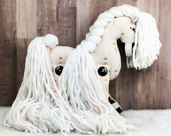 Stork Print Cotton Pony - horse stuffed animal; plush toy; one of a kind; stuffed horse; stuffed pony; stuffed animal horse; toy horse