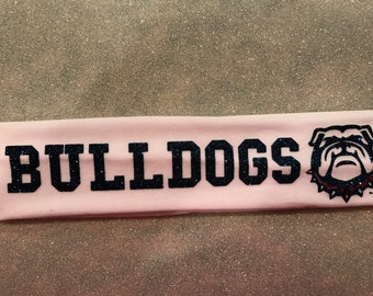 "Custom School Team Logo Headband - ""Bulldogs"""