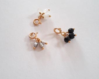 Charm of stones or beads plated gold or silver 925millieme