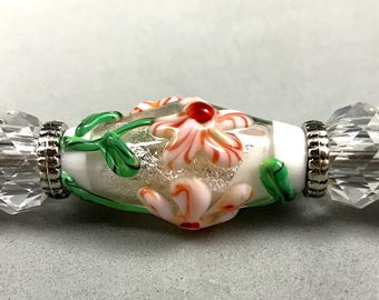 Lampwork-Pen-Red and White Flowers over Silver Dichro
