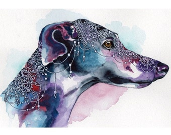 Bohemian Greyhound Watercolour Print