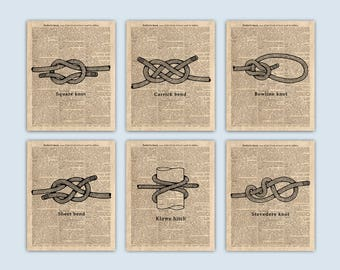 Nautical Knots, Set of 6 Prints, Sailing Art, Nautical Art, Coastal Wall Art, Sailor Knot, Sailing Gifts, Coastal Decor, Nautical Wall Decor
