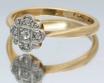 Vintage Art Deco Style Diamond Cluster / Engagement Ring, 18ct Gold & Platinum Ring, Free Worldwide Shipping
