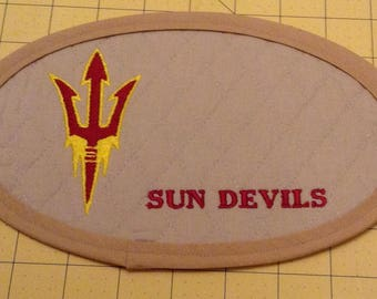 Arizona Sun Devils Mug Rug; An Extra Large Embroidered Quilted Coaster, handmade from Tan Cotton Double Diamond Quilting and Embroidery.