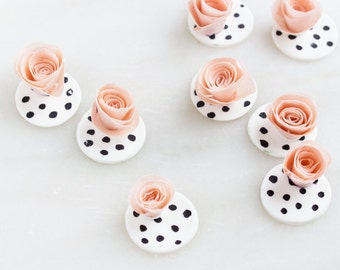 Peach Wafer Paper Flowers, Edible Flowers for Cupcakes, Polka Dot Toppers. Fondant Flowers