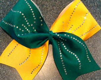 Yellow and green mystique fabric cheer bow