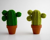 The three Branches - Cactus-wool knit, handmade interior design, textile, green art, plant eternal