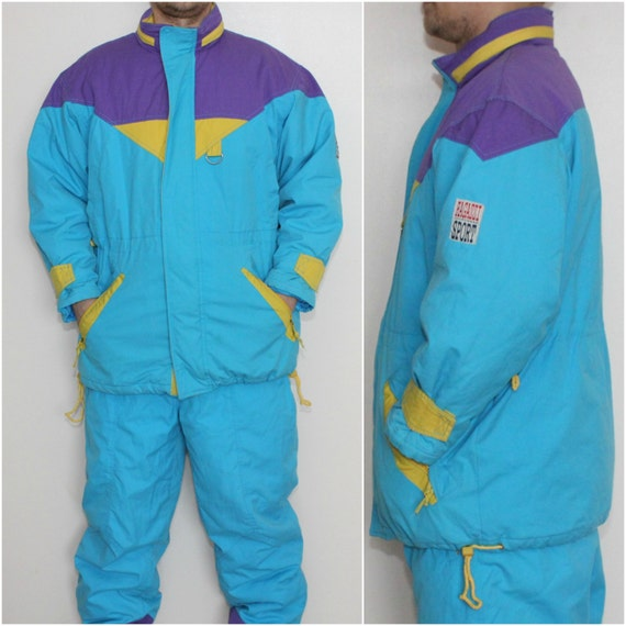 Vintage Unisex Blue Yellow Purple Ski Suit Vintage Mens Two