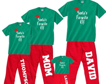 Personalized Santa's Favorite Elf Family Matching Christmas Pajama Sets, Holiday PJs, Jammies for Adults - Matching Playwear for Kids, Baby