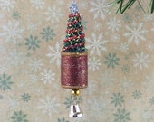Bottle Brush Tree and Vintage Spool Christmas Ornament Red and Gold