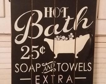 Primitive Hot Bath Door Sign