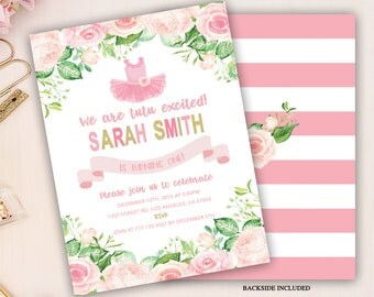 tutu birthday invitation, tutu first birthday invitation, tutu invitation, girl first birthday, pink tutu ballerina invite, 1st 2nd 3rd bday