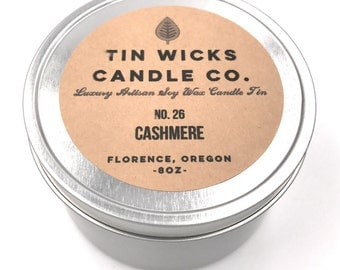 No. 26 Cashmere || 8oz. Luxury Artisanal Soy Wax Candle Tin || Tin Wicks Candle Co. || Highly Scented Candles || Handcrafted Soy Ca