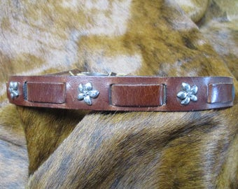 Cowboy Hat Band, SASS Hat Band, Vintage Hat Band, Re-enactor Hat Band, Cowgirl Hat Band, Slotted Leather Hat Band with Pewter Flower Conchos