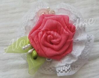 Stella's Pink Chiffon Handmade Vintage Lace Flower Piece