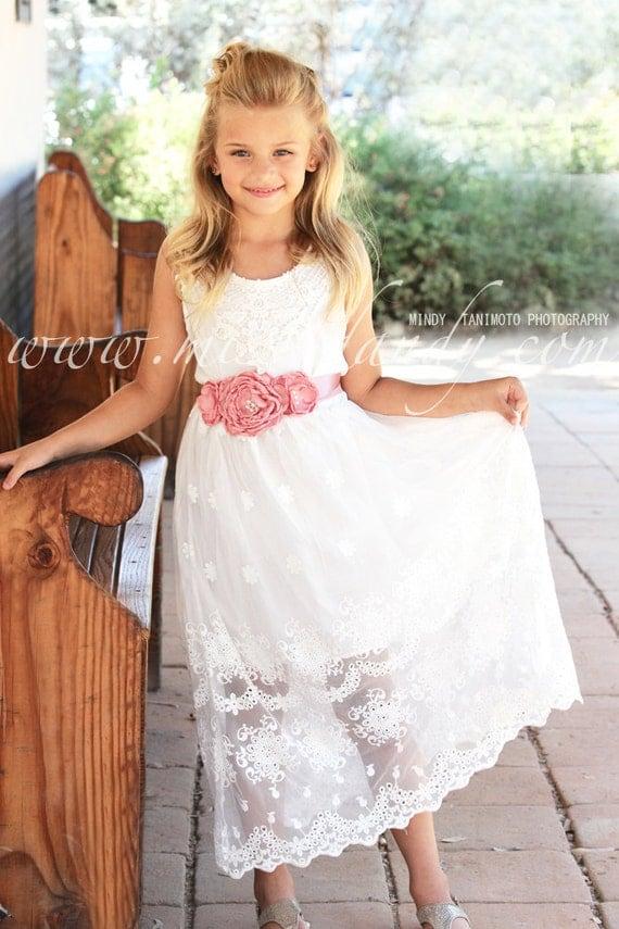 Bella Dress- White Lace Flower Girl Dress, Boho Flower girl dress, Lace Girl dress, Beach Girl Dress, Bohemian Rustic Lace Flower girl dress