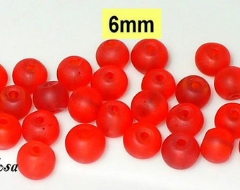 30 beads frosted Red 6 mm (K893)