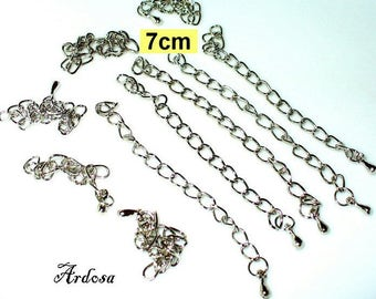 10 extension chain of drops of 7 cm Silver (K212. 2)