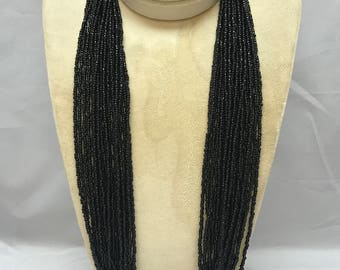 Southwest Black Seed Bead Necklace TWENTY STRAND Handcrafted Multi-Strand