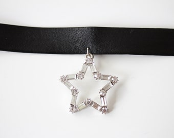 Star Faux Leather Choker-SALE!