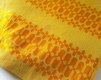 Sixties retro curtains. Pair of 1960's golden yellow geometric pattern brocade curtains.