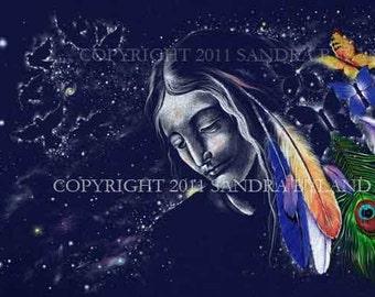 SPIRITUAL ART PRINT Signed Fine Art Giclee Print Star Madonna Feathers Stars Signed Giclee Print Star Art Constellation Spiritual Drawing