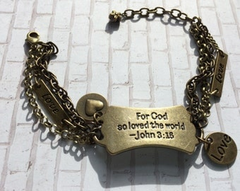 "John 3:16, ""For God so loved the world..."" Inspirational bracelet"