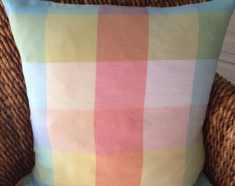 Pastel plaid pillow cover, spring pillow cover