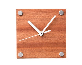 Modern Mahogany Wooden Desk Clock