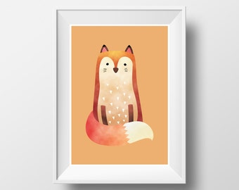 "POSTER. Printable A3 Orange Poster ""Fox"" for Children Rooms. Instant download PDF."