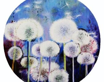 Dandelions painting,Dandelions, Original oil painting, Boba painting