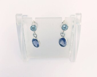Aquamarine and Iolite Earrings