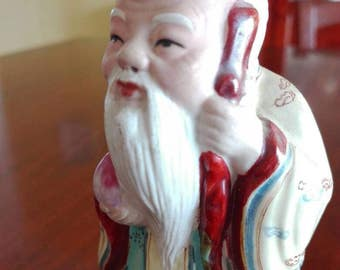 Ancient Chinese statue, asian figurines, old Chinese monk, Oriental ceramics