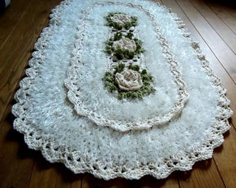 Crochet rug, crochet carpet, oval rug, knitted carpet, knitted rug