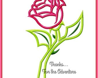Princess Belle's Enchanted Rose from Beauty and the Beast Applique Digital Embroidery Machine  Design File 4x4  5x7 6x10