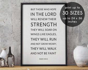 Beautiful Isaiah 40:31, Christian Wall Decor, Wall Decor Prints, Literary Print, Part 16