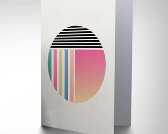Abstract Circle Card, Arty Card, Birthday Card, Occasion Card, Pastel Stripes, Greetings Card Cp3228