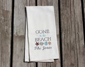 Beach Theme Personalized Dish Towels Embroidered With Monogrammed Family Name with Shells for Beach Home or Cottage