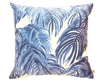 Tropical Coastal Rustic Palm Linen Cushion in Blue 45 x 45 cm square