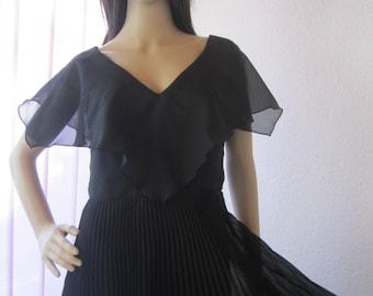 Vintage 70s buying Maxi dress dress robe Trevira pleated S