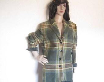 Vintage 80s Plaid wool jacket Blazer jacket wool L Delmod