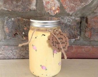 Hand painted Flowers, Mason Jar money bank, savings jar, piggy bank, Shabby chic, vintage, Easter