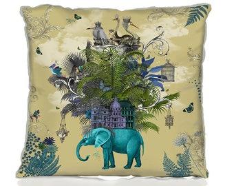 Tropical decor - The Birdcage 2 elephant cushion tropical accent pillow accent cushion cover beautiful designer UK shop UK seller animal art