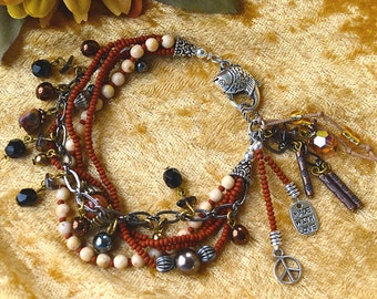 Five Strand Bracelet with Beads and Charms, Charm Bracelet with Shapes Textures Beads Stones Metal Glass Hemalyke and Smoky Quartz Dangles